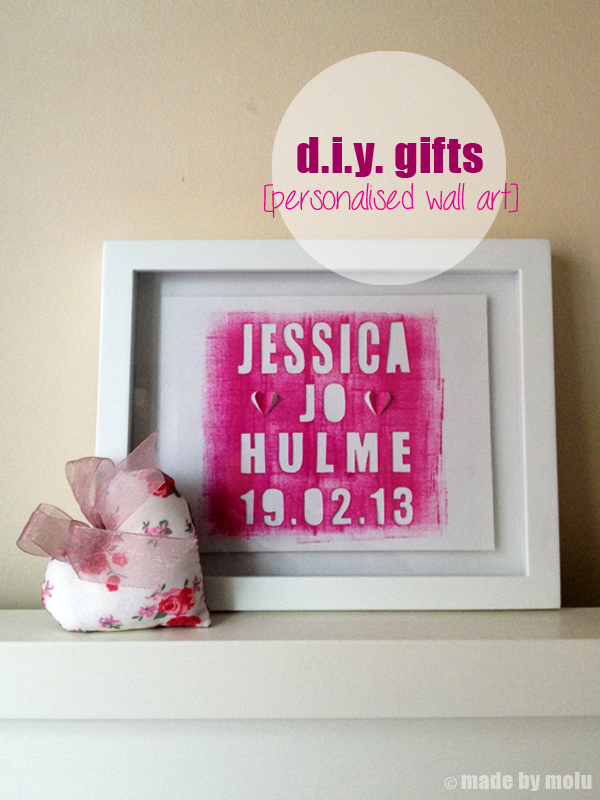 d i y gifts personalised wall art for baby girl made by molu
