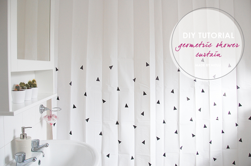 DIY Tutorial Scandi Inspired Geometric Shower Curtain