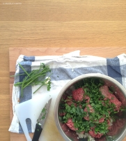 lamb koftas in preparation