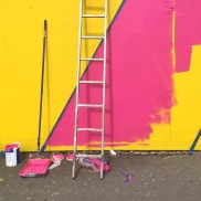 Helping out street artist Maser on his project